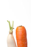Fresh white radish and carrot solated on white background Stock Photo