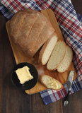 Fresh white rustic bread Royalty Free Stock Photo
