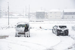 Fresh white snow fall at public park in winter season. At Kawaguchiko,Japan Royalty Free Stock Photos