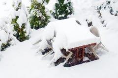 Fresh white snow fall at public park in winter season. At Kawaguchiko,Japan Stock Photos