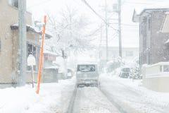 Fresh white snow fall at public park in winter season. At Kawaguchiko,Japan Royalty Free Stock Image