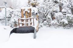 Fresh white snow fall at public park in winter season. At Kawaguchiko,Japan Royalty Free Stock Images