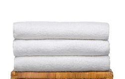 Fresh white towels. 3 white and smooth towels. isolated on white background.  iso 100 Royalty Free Stock Photos