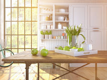 Fresh white tulips on kitchen background Stock Image