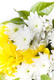 Fresh white and yellow flower arrangement. Bunch of freshly cut white carnation flowers, and yellow carnations arranged in a simple floral bouquet with dark Stock Photography