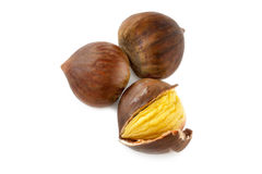 Fresh whole autumn chestnuts Royalty Free Stock Photos