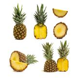 Fresh whole and cut pineapple isolated on white background royalty free stock photos