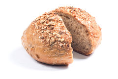 Fresh whole grain bread cut in half Stock Photography