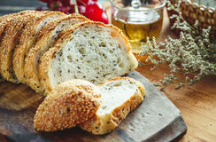Fresh whole grain bread or rye bread slice with tea cup and frui Royalty Free Stock Photography
