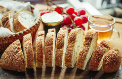 Fresh whole grain bread or rye bread slice with tea cup and frui Stock Photo