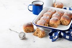 Fresh whole grain sweet buns with raisins Stock Image