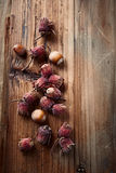 Fresh whole hazelnuts on a wooden surface Royalty Free Stock Image
