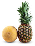 Fresh Whole PineApple and Galia Melon isolated on white background Royalty Free Stock Photos