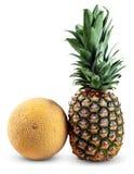 Fresh Whole PineApple and Galia Melon isolated on white background Royalty Free Stock Photos