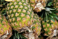 Fresh whole pineapples at local market Stock Photo