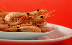 Fresh whole prawns Stock Photos