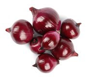 Fresh whole red onions on white background. Top view stock photos