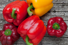 Fresh whole red and orange bell peppers Stock Photography