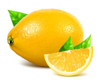 Fresh whole and slice lemons with leaves. Stock Images