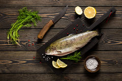 Fresh whole trout fishes on cutting board. Top view Royalty Free Stock Image