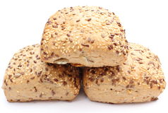 Fresh wholemeal rolls isolated on white background Stock Photos