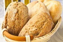Fresh wholesome bread. A basket full of fresh and wholesome bread Stock Photos