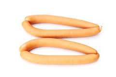 Fresh wiener sausages. Isolated on white background stock images