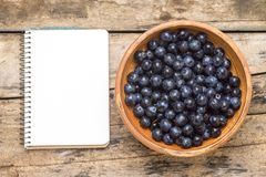 Fresh wild berries with blank recipe book on wood background. Stock Photos