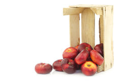 fresh wild flat nectarines in a wooden crate Royalty Free Stock Photos