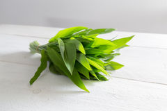 Fresh wild garlic on a wooden board Royalty Free Stock Image