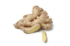 Fresh wild ginger root. On white background Stock Images
