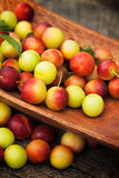 Fresh wild plum. Fruit garden concept. Freshly harvested wild plum on old wooden background stock photos