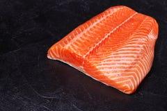 Fresh Wild Salmon. On Grey Stone Background Royalty Free Stock Image