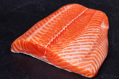 Fresh Wild Salmon. On Grey Stone Background. View from above, top studio shot Stock Image