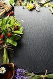 Fresh Wild strawberries, honey and wild flowers  background Royalty Free Stock Photos