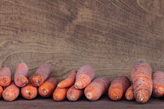 Fresh winter carrots in a wooden box Royalty Free Stock Image