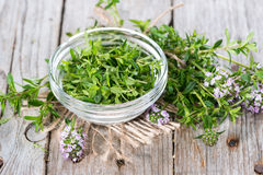 Fresh Winter Savory in a bowl Royalty Free Stock Images