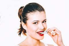 Fresh sweet red lips royalty free stock photography