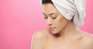 Fresh Woman with Towel on Head on Pink Royalty Free Stock Photography