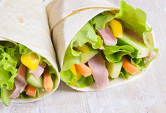Fresh wrap sandwiches Royalty Free Stock Photo