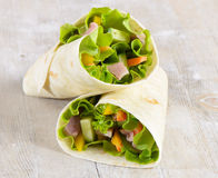 Fresh wrap sandwiches Stock Photos