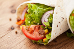 Fresh wraps on table Royalty Free Stock Photo