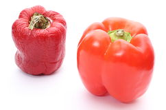 Fresh and wrinkled peppers on white background Royalty Free Stock Image