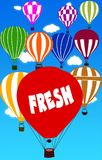 FRESH written on hot air balloon with a blue sky background. Illustration Royalty Free Stock Images