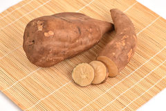 Fresh Yacon roots on white background Stock Images