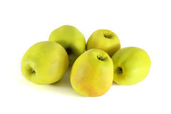 Fresh yellow apple  on a white background Royalty Free Stock Images