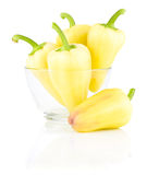 Fresh Yellow bell peppers in Glass bowl isolated Royalty Free Stock Image