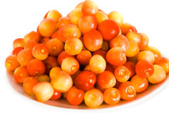 Fresh yellow cherry in bowl Royalty Free Stock Photography