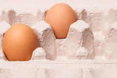 Fresh yellow chicken eggs in container Royalty Free Stock Photography