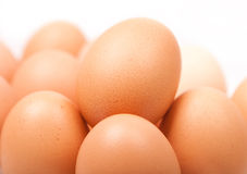Fresh yellow chicken eggs in group Stock Image